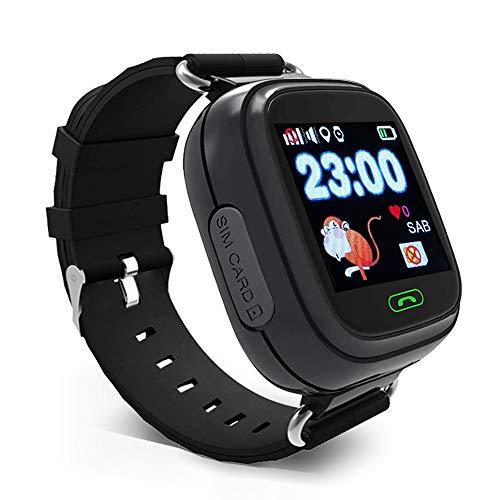 KOSCHEAL Reloj Inteligente para Niño,Reloj Inteligente para niños con pantalla táctil de 1.22 pulgadas, IPS UI dynamic, Pantalla con WiFi, Llamada Bidireccional, Podómetro ,Chat De Voz, GPS, para iOS y Android (Negro))