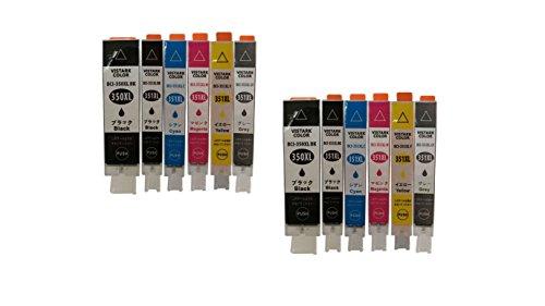 【VISTARKCOLOR】Canon キヤノン ICチップ付 6本マルチパック×2 増量版 BCI-351XL+350XL/6MP BCI-351XL+350XL/6MP & BCI-351XL+350XL/5MP PIXUS MG7530F, PIXUS MG7530, PIXUS MG7130, PIXUS MG6730, PIXUS MG6530, PIXUS MG6330, PIXUS MG5630, PIXUS MG5530, PIXUS MG5430, PIXUS MX923, PIXUS iP8730, PIXUS iP7230, PIXUS iX6830 対応 互換インクカートリッジ モノモノショップ