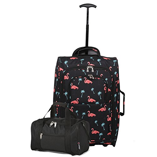 5 Cities Set of 2 Ryanair Cabin Approved Hand Luggage Set Main and Second Hand Luggage Set, 55x35x20cm, 42L, 35x20x20, 14L - Set Carry On Both! (Black Flamingos/Black)