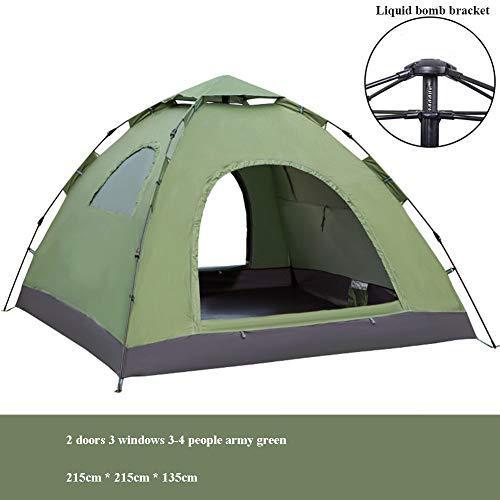 XYZA Tienda Exterior Doble 3-4 Personas 2 Personas Camping Automático Playa Turismo Tienda De Campaña Protector Solar Toldo Hidráulico Automático,Verde,215 * 215 * 135