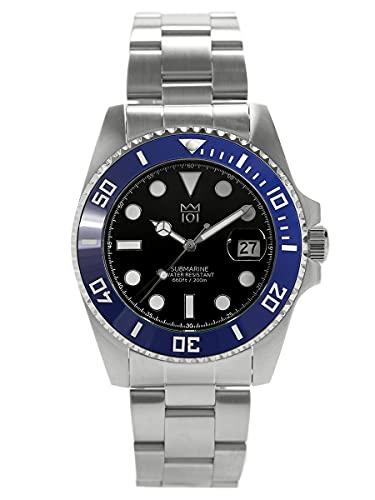 [HYAKUICHI 101] 20気圧防水 ダイバーズウォッチ セラミックベゼル カレンダー 腕時計 メタルバンド メンズ (ブルー×ブラック)