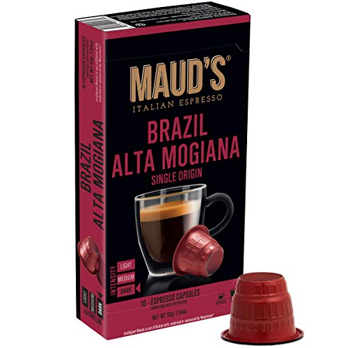 Maud's Brazil Alta Mogiana Espresso Capsules 50ct. 100% Hand-Crafted Arabica Coffee Single Origin Italian Espresso Capsule, Single Serve Dark Roast Espresso Pods, Original Machine Nespresso Compatible