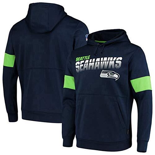 DKZ Herren Hoodie – NFL Seattle Seahawks Fußballmann-Kapuzenpullover, Sweatshirt mit langen Ärmeln, Basketball-Trainingskleidung, Größe M