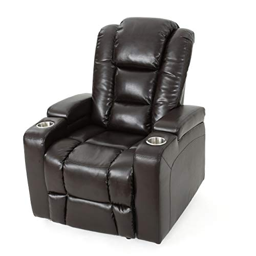 Everette Power Motion Recliner | USB Charging Port | Hidden Arm Storage | Assisted Reclining Furniture for Elderly & Disabled | Durable Tufted Brown PU Leather, Comfortable, Easy to Clean