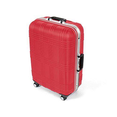 MasterGear Hartschalenkoffer mit Aluminium Rahmen in rot | Größe M: (67,5 x 45,5 x 26,5 cm / 55 Liter) | Koffer mit 4 Rollen (360 Grad) | Trolley, Reisekoffer, ABS, TSA, stapelbar