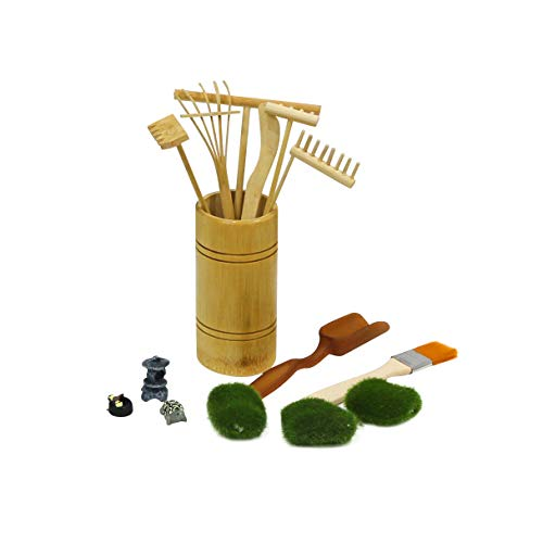 Mini Zen Garden Rake Tool - Tabletop Meditation Rock Sand Garden Kits with Moss Rakes Brusher Spoon Figurines Holder