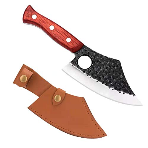 Butcher Knife Hand Forged Boning Knives with Sheath High Carbon Steel Meat Cleaver Knives Fillet Kitchen Chef Knife Viking Knive for Home Camping BBQ Deboning