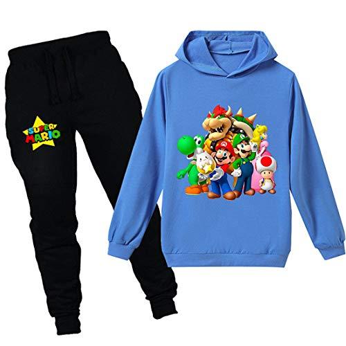 Super Mario Hoodie Cartoon Spiel Baby Mädchen Jungen Freizeit Kleidung Sets Kinder Sweatshirt Nachtwäsche Schlafanzug Kleidung 2-12Y Gr. 110, blau2