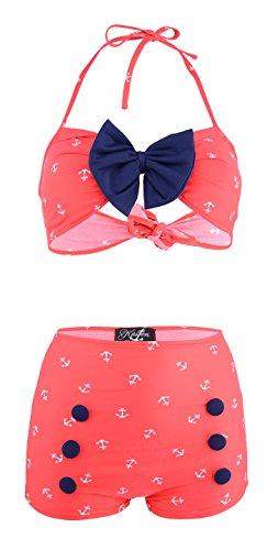 Küstenluder Damen Bikini Set Sybille Sailor Anker Bademode Rot XL