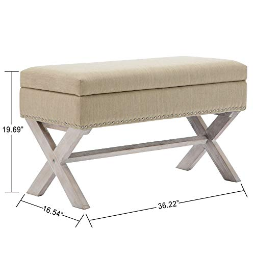 chairus Fabric Upholstered Storage Entryway Bench, 36 inch Bedroom Bench Seat with X-Shaped Wood Legs for Living Room, Foyer or Hallway - Beige