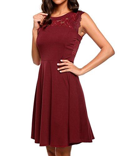 Meaneor Damen Sommer elegant Cocktatilkleid ärmellos Durchbrochene Spitze Patchwork Abendkleid Retro festlich Partykleid Vintage, B Wein Rot, L