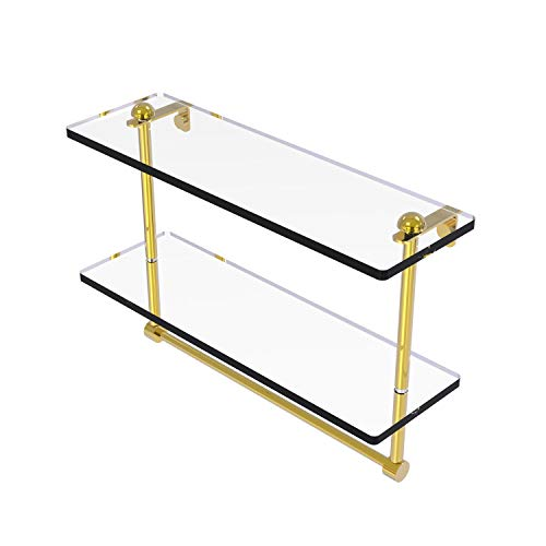 Allied Brass RC-2/16TB 16 Inch Two Tiered Integrated Towel Bar Glass Shelf, Polished Brass