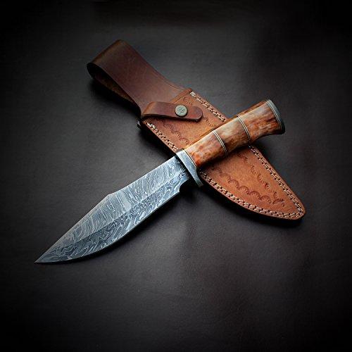 vk0077 Handmade Damascus Steel fixed blade Hunting Knife CAMEL BONE Handle 12.50 Inches
