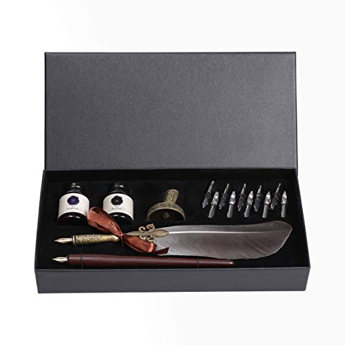 Calligraphy Set,UBEART Calligraphy Kits Include Antique Quill Feather Pen,Handcraft Wooden Pen,12 Nibs,2 Bottles Inks,Pen Holder and Calligraphy Pens Instruction Gift for Beginners Birthday Gift
