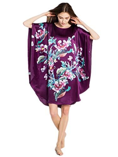 Prettystern dames zijden Kimono lange nachtjurk