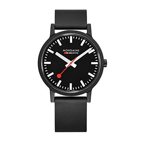 Mondaine Essence, Schwarze vegane nachhaltige Uhr für Herren und Damen, MS1.41120.RB, 41 MM.