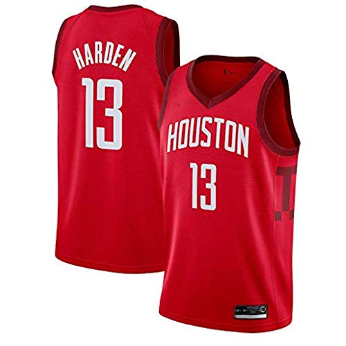 LCY Herren-Basketball-Jersey - NBA Jersey Rockets # 13 James Harden Breathärmel Sports Fitness T-Shirts Fans Basketball-Trikot,Rot,M(175CM/65~75Kg)