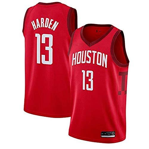 LCY Herren-Basketball-Jersey - NBA Jersey Rockets # 13 James Harden Breathärmel Sports Fitness T-Shirts Fans Basketball-Trikot,Rot,M(175CM/65~75Kg)