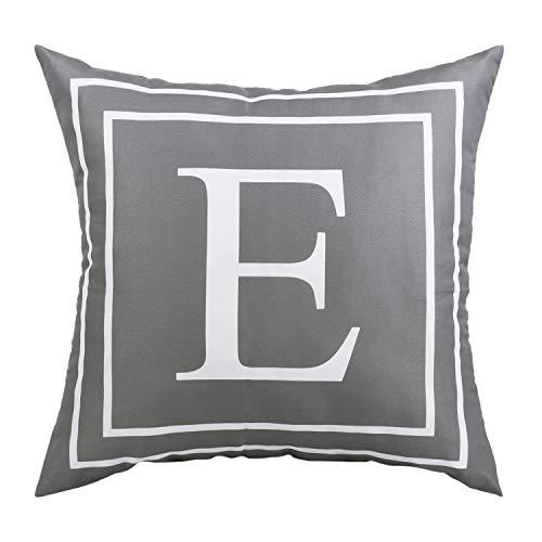 Yastouay Fundas de cojín con letra del alfabeto suave, funda de almohada decorativa, funda de cojín gris 45 x 45 cm (E)