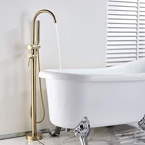 L.BAN Grifo de bañera Independiente con rociador de Mano Acabado en Oro Cepillado Sistema de Ducha de 2 manijas Montaje en el Suelo