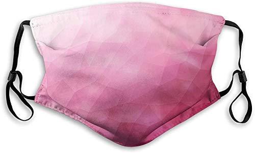 MSJXNF Fillter - Paño bucal 3D para adultos y niños, diseño abstracto, varios tonos de degradado rosa con efectos fragmentados, filtro reutilizable lavable al polvo