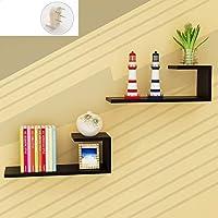 壁掛け棚収納棚 Chihen ウォールシェルフフローティングシェルフ、フローティングウォールハンガーディスプレイスタンド2個ディスプレイスタンド棚ウォールシェルフ本棚ウォールマウント木製フレーム 1227 (Color : H)