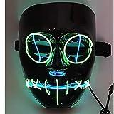 SOUTHSKY LED Maschera Nera Faccia Maschera Luminosa Maschera Notte Luce Neon El Wire Light Up 2 Colors 3...