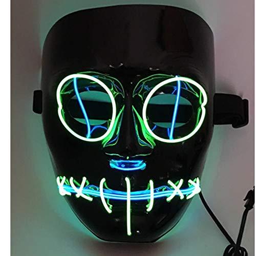 SOUTHSKY LED Mascara Negro Cara Disfraz de Luces Neon Led Brillante Neón Alambre Fresco Divertido Mask EL Wire Light Up 3 Modos For Halloween Costume Cosplay Party