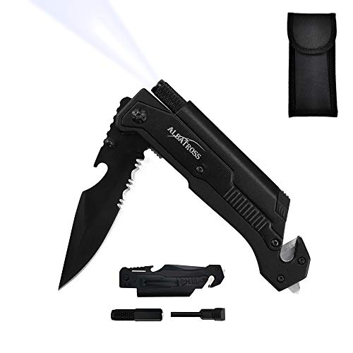 7-in-1 Dispatcher Tactical Knife with Glass Breaker, Seatbelt Cutter,Steel Serrated Blade,Flashlight,Fire Starter,Bottle Opener and Carrying bag, Good for Military Emergency Outdoor Rescue (1-Black)