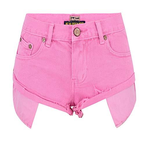 HOSD Low-Rise-Denim-Shorts lockere, Nicht elastische Macarons mit offener Tasche und...