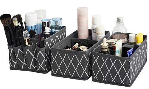 Drawer Organizer for Bathroom Storage - Adjustable Cosmetic Organizing Countertop for Caddy,Makeup,Face Care,Clothes Set of 3 (Grey)