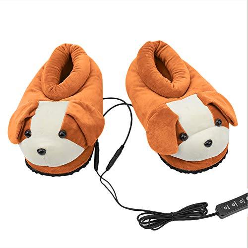 YHNJI Elektrisch Beheizte Hausschuhe, USB Bequem Heizung Plüsch Schuh Cartoon Hund Fußwärmer für Winter Damen Herren