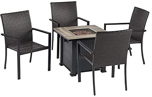 Mesas de fuego al aire libre Conjunto de comedor de 5 piezas al aire libre con 1 mesa cuadrada de fosas de fuego de gas y 4 EDUCACIÓN FÍSICA Sillas de ratán, conjunto de muebles de patio Conjunto de c