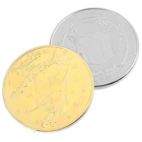 Cabilock 2Pcs Challenge Coin Coleção Moedas Comemorativas Medalhas de Fada Do Dente (Cores Sortidas)
