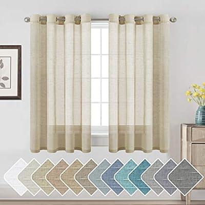 H.VERSAILTEX Ultimate Natural Effect Linen Semi-Sheer Curtains,Nickel Grommet Window Curtain Panels for Living Room/Bedroom(Set of 2)