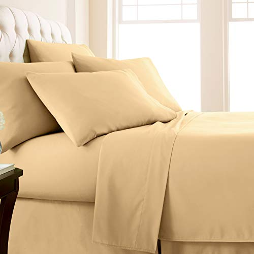Vilano Springs, 6-Piece, 21-Inch Extra Deep Pocket Sheet Set, Premium Quality, Easy Care, Shrinkage Free Sheet Set with 1 Flat Sheet, 1 Fitted Sheet, 4 Pillowcases, Gold, Queen