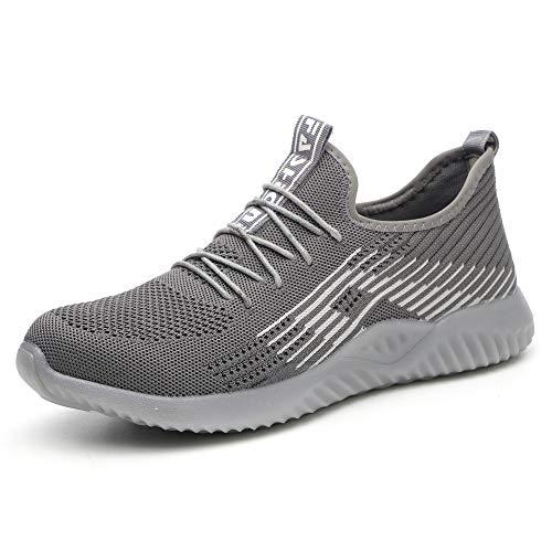 Ulogu Sicherheitsschuhe Herren Arbeitsschuhe Damen Leicht Atmungsaktiv Schutzschuhe Stahlkappe Sneaker Wanderschuhe 44 EU Grau#1