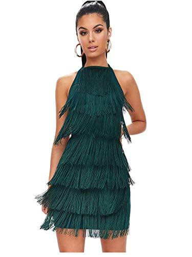 L'VOW Damen Kleid 1920er Fransenkleid Mit Halter Great Gatsby Cocotail Party Flapper Kleider Fasching Fransen Damen Kostüm Kleid (Dunkelgrün, L)