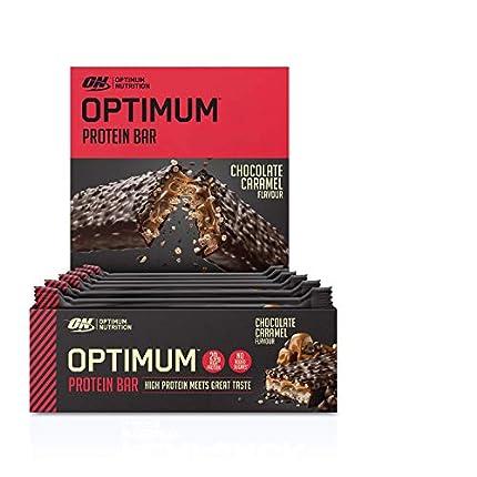 Optimum Nutrition Protein Bar Barritas Proteínas con Whey Protein Isolate, Dulces Altas en Proteína y Low Carb, Chocolate y Caramelo, 10 Barras (10 x 60 gr)