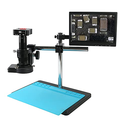 TANGIST 4K UHD 50MP HDMI USB Industrial Video Microscope Camera 180X 300X Electronic Digital Magnifier for Lab/PCB Jewelry Soldering for Natural Observation/Part Inspection