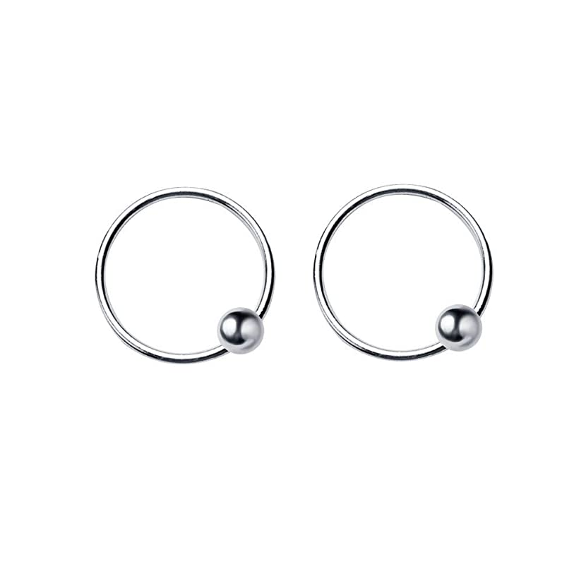 20G Sterling Silver Ball Bead Sleeper Tiny Small Hoop Earrings Tragus Cartilage Nose Rings Septum Dainty Piercing Huggie Hoops