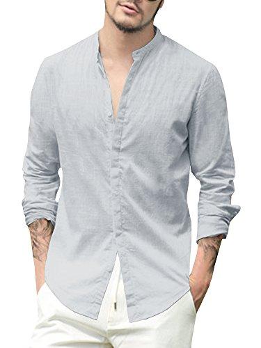 Gemijacka Leinenhemd Herren Regular Fit Langarm Hemd Herren Button-down Freizeithemden aus Leinen und Baumwolle, Grau, XL