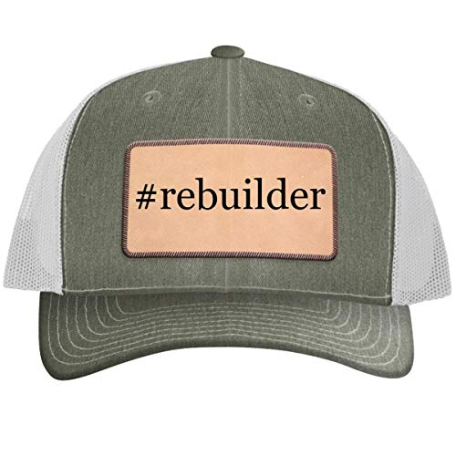 #Rebuilder - Leather Hashtag Light Brown Patch Engraved Trucker Hat, Heather-White, One Size