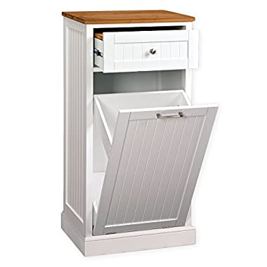 Corner Housewares SpaceMaster Microwave Kitchen Cart with 1 Drawer, Hideaway Trash Can Holder and Removeable Genuine Bamboo Cutting Board, White