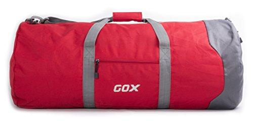 Borsone Pieghevole da Viaggio per Bagagli, GOX Premium Impermeabile Grande borsone da viaggio con tracolla in 1000D Polyester, per Sport, Palestra, Camping (Large, Rosso)