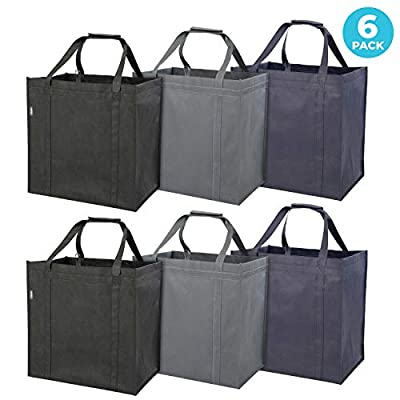 Smirly Foldable Reusable Grocery Bags: 6 Pack of Heavy Duty Grocery Shopping Bags with Pouch and Sturdy Handles - Large Tote Bag for Groceries, Food Delivery, and More - Black, Grey, and Navy Blue