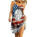URIBAKY - Vestido para mujer, vestido de playa, informal, falda larga, cuello redondo, mini vestido corto, casual, vestido largo sin mangas A-azul S