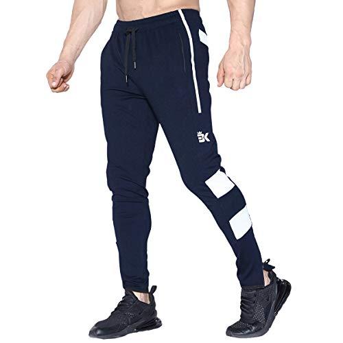 BROKIG Mens Zip Light Weight Gym Jogger Workout Pants, Running Sweatpants with Zipper Pockets (X-Large, Navy)