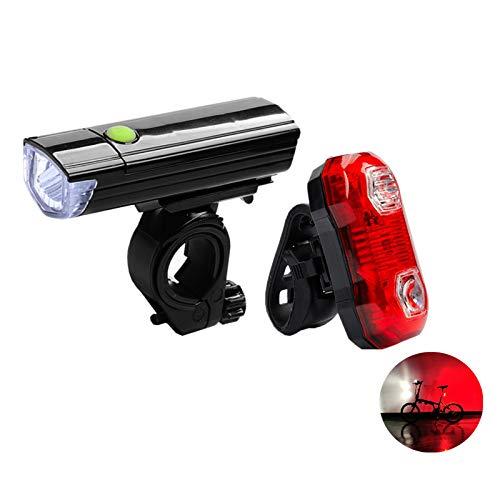 WQYRLJ Fiets Licht, 3W Highlight Fiets Lights en 0.5W Achterlicht Bike Light Set, Batterij-aangedreven Fietsen Mountain Zaklamp Eenvoudig te installeren voor Volwassenen Kinderen/Kamperen