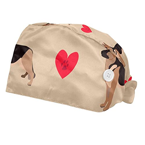 Gorra de trabajo ajustable con botón y banda para el sudor, juego de gorras de trabajo, sombrero de vendaje elástico para mujeres y hombres, 2 paquetes, perro con huellas en corazón rojo